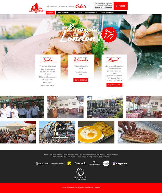 Travaux graphiques pour la réalisation de la page d'accueil du nouveau site internet du restaurant London Bridge à Calais